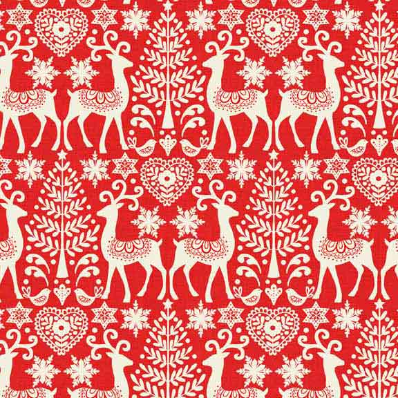Makower Scandi Christmas cotton fabric | Reindeer Red | Holm Sown