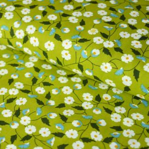 Daisy Pima Cotton Lawn Green - dressmaking fabric | Holm Sown
