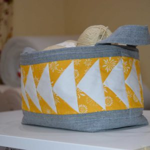 Learn to sew a fabric basket | flying geese caddy | Holm Sown