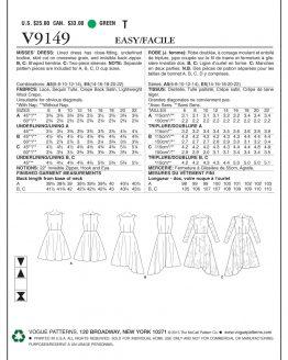 Vogue V9149 Misses Dress - Easy - Custom Fit   Sewing Pattern envelope back   Holm Sown