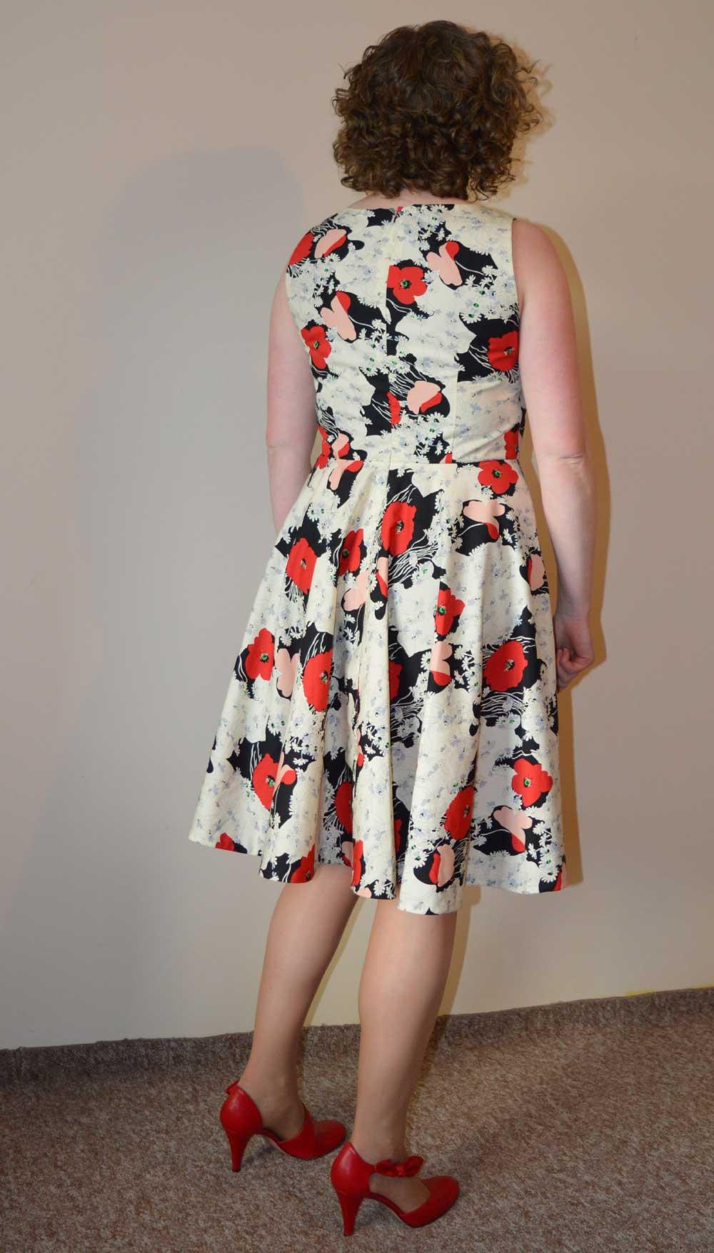Vogue V9149 Swishy Party Dress | Red Poppy Cotton Poplin | Back | Holm Sown