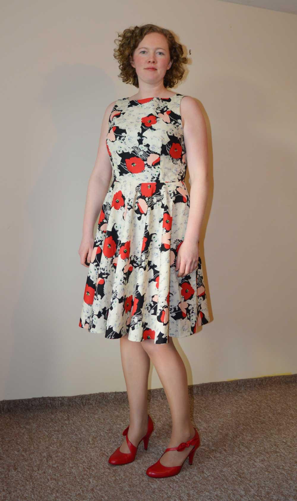 Vogue V9149 Swishy Party Dress | Red Poppy Cotton Poplin | front | Holm Sown