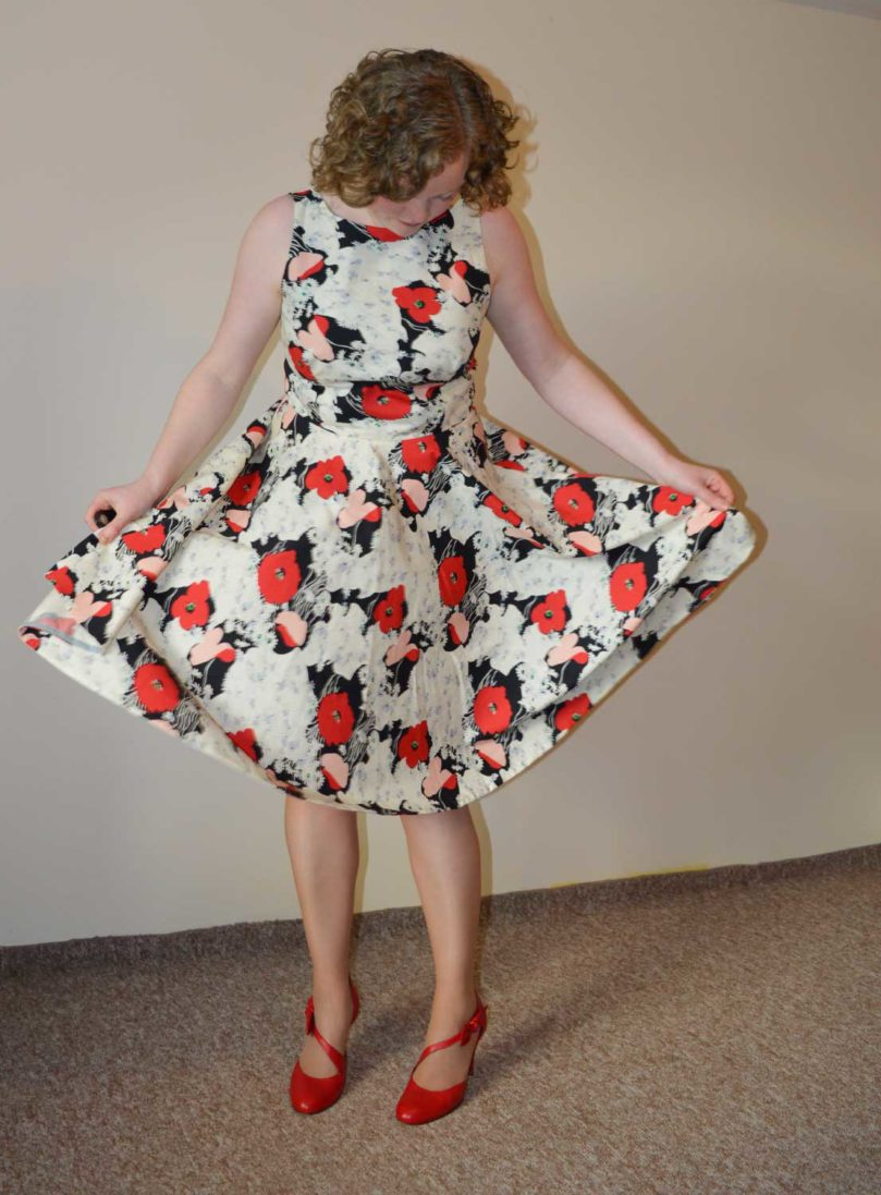 Vogue V9149 Swishy Party Dress | Red Poppy Cotton Poplin | Holm Sown