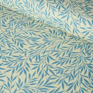 Leafy Cotton Duck - Blue - canvas fabric | Holm Sown