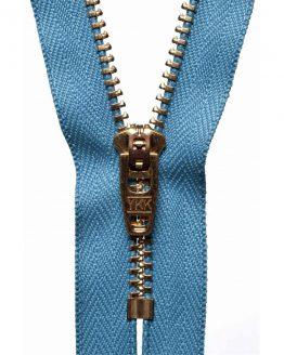 YKK Metal Jeans Zip Brass - Airforce Blue | Holm Sown