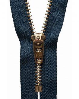 YKK Metal Jeans Zip Brass - Navy Blue | Holm Sown