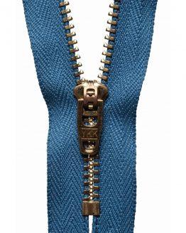 YKK Metal Jeans Zip Brass - Slate Blue | Holm Sown
