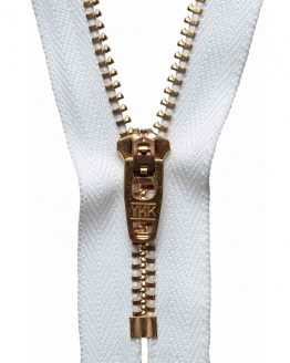 YKK Metal Jeans Zip Brass - White | Holm Sown