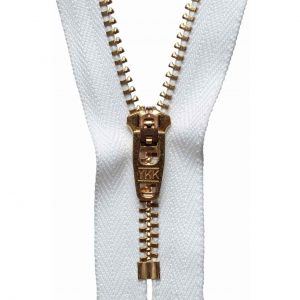 YKK Metal Jeans Zip Brass - White | Holm Sown