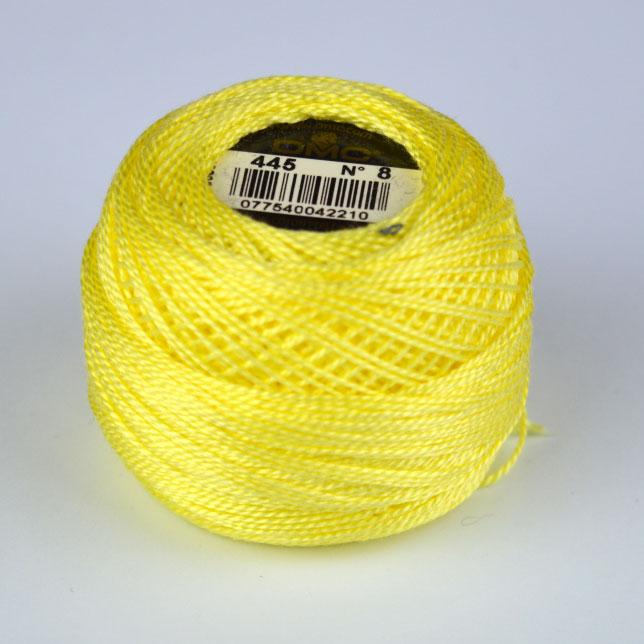 DMC Perle Cotton #8 Thread - 445 pale yellow | Holm Sown