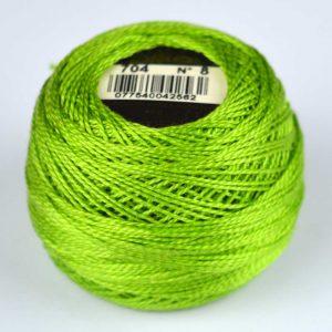 DMC Perle Cotton #8 Thread - 704 lime green | Holm Sown