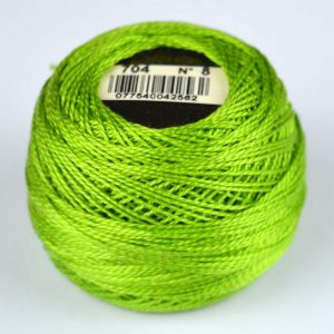 DMC Perle Cotton #8 Thread - 704 lime green | Holm Sown