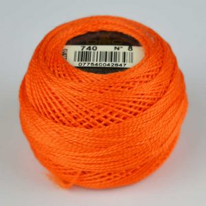 DMC Perle Cotton #8 Thread - 740 orange | Holm Sown
