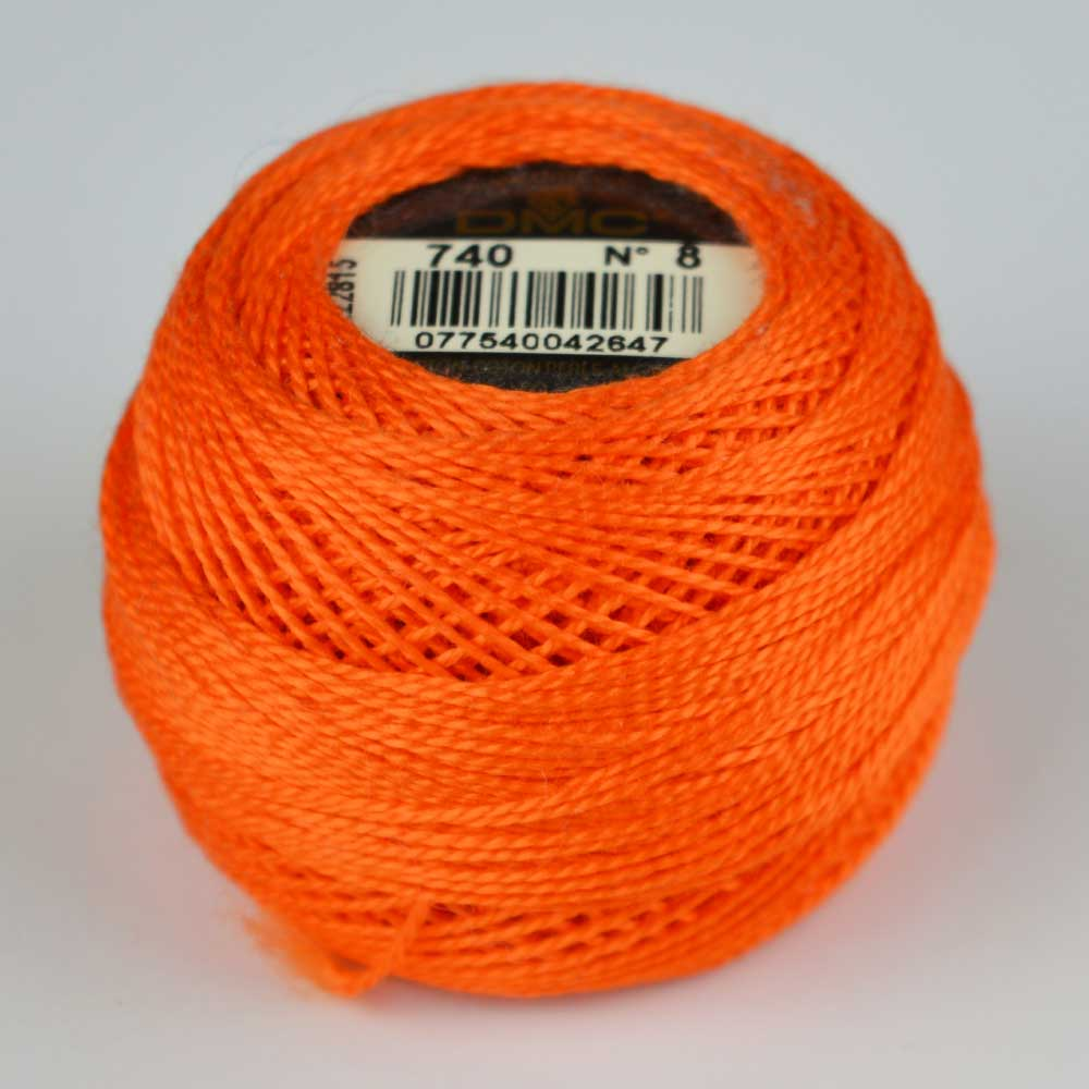 DMC Perle Cotton #8 Thread - 740 orange | Holm Sown