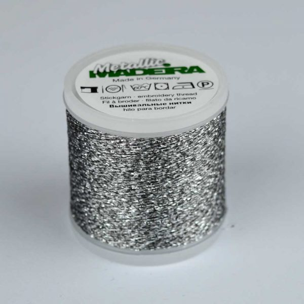 Madeira Rayon 40 Metallic Thread 200m - 44 silver | Holm Sown