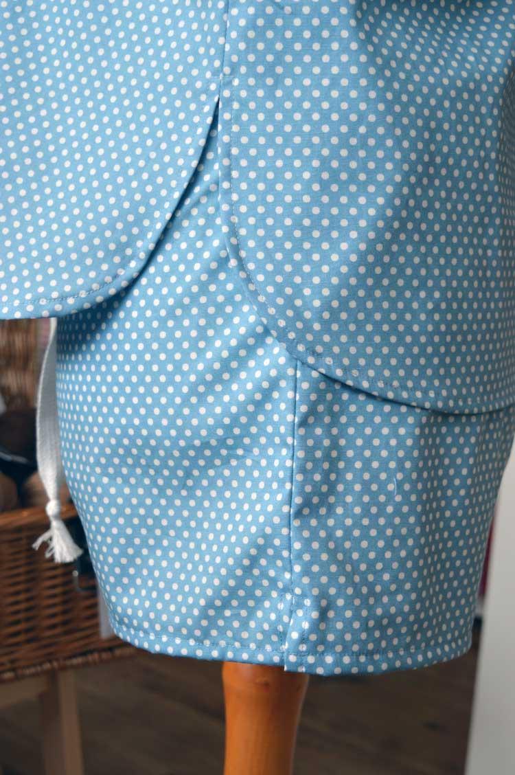 McCalls 6659 Spotty Pyjama Set For Spring | side hem detail | Holm Sown