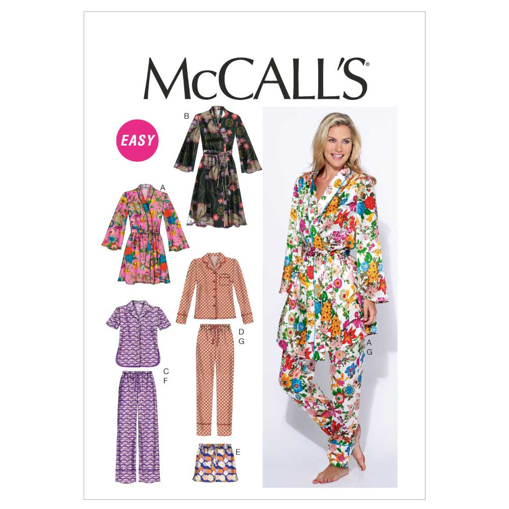 McCalls 6659 Misses robe, belt, tops, shorts and pants sewing pattern   Holm Sown
