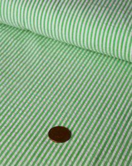 Stripe Cotton Seersucker – green |  Dressmaking fabrics | Holm Sown