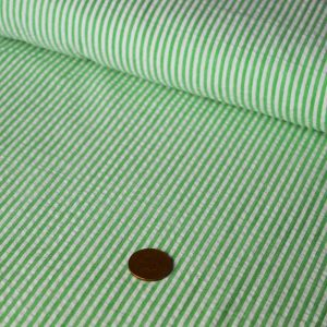 Stripe Cotton Seersucker – green |  Dressmaking fabrics | Holm Sown