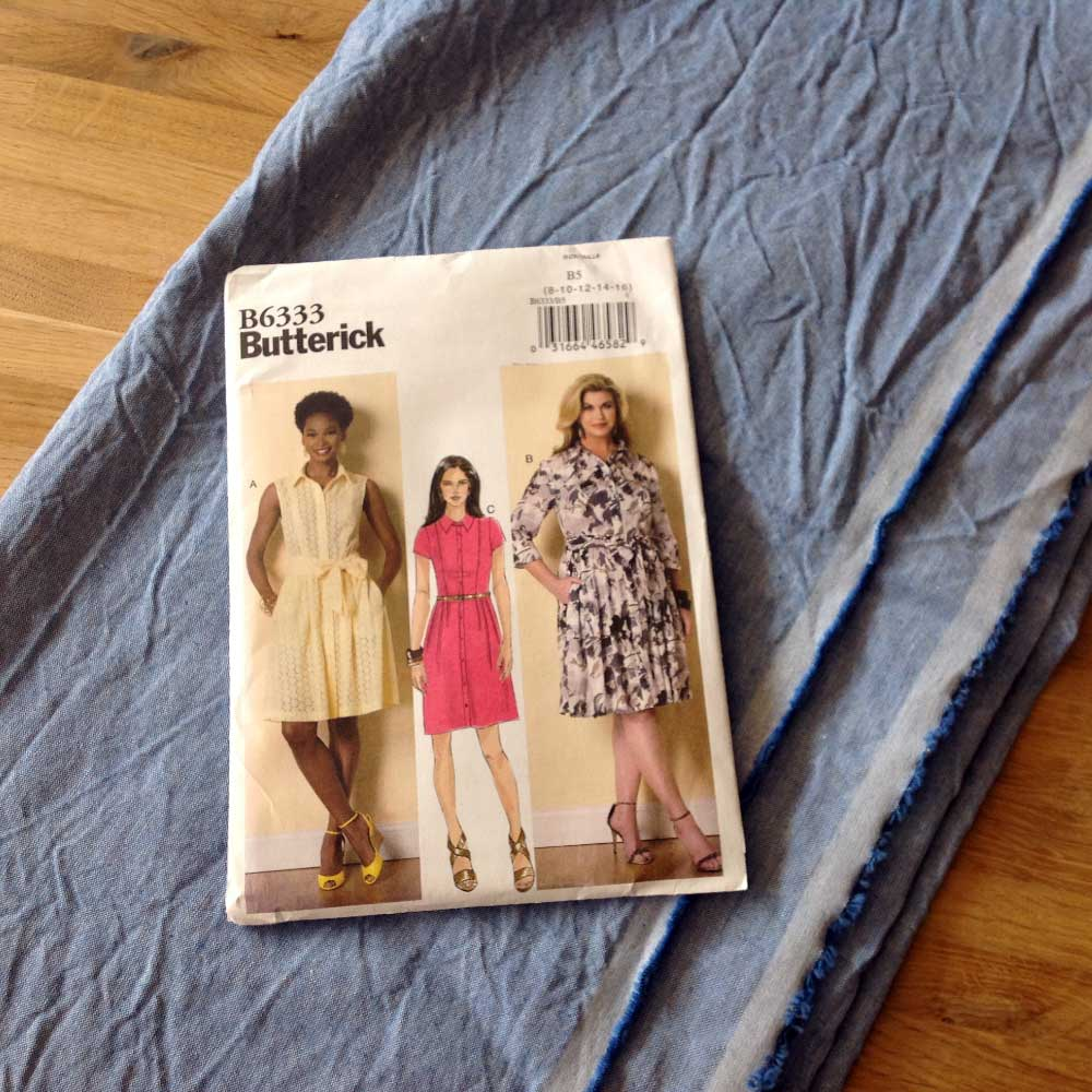 Butterick B6333 Pale Blue Chambray | Spring Sewing Plans - Holm Sown