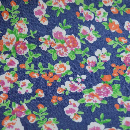 Denim Elsie Floral Cotton   Dressmaking Fabric from Holm Sown