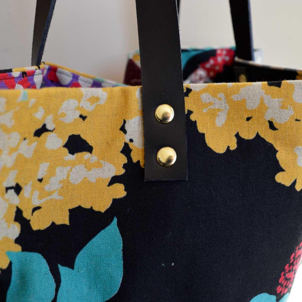 Genoa Tote Bag Workshop - leather handle rivets exterior | Holm Sown