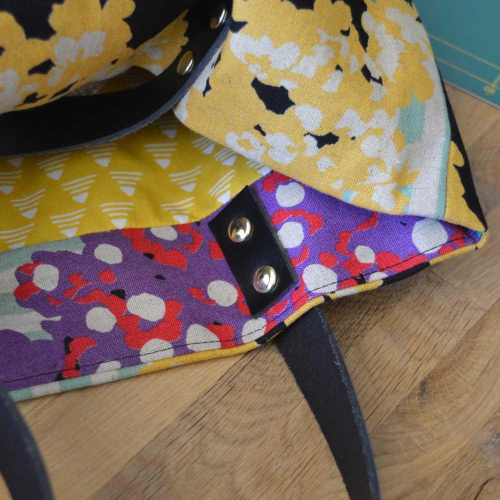 Genoa Tote Bag Workshop - leather handle rivets interior   Holm Sown