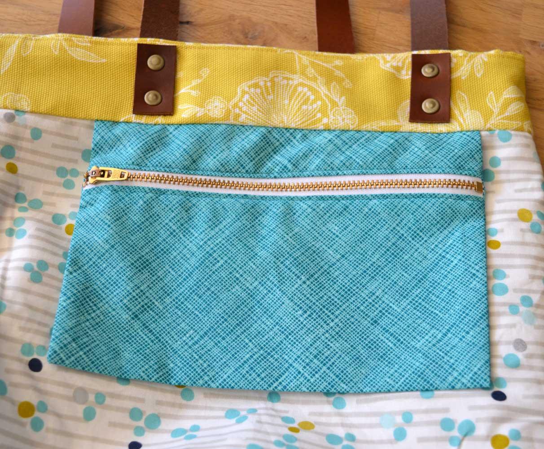 Genoa Tote Bag Workshop - zip pocket   Holm Sown
