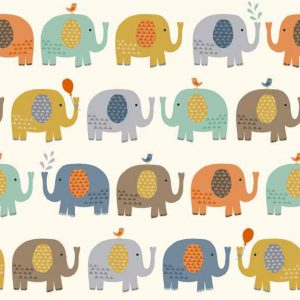 Makower Baby Jungle Elephants Cream | cotton quilting fabric | Holm Sown