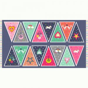Makower Fantasy Bunting panel - cotton quilting fabric | Holm Sown