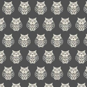 Makower Papillon Owls Grey cotton quilting fabric | Holm Sown