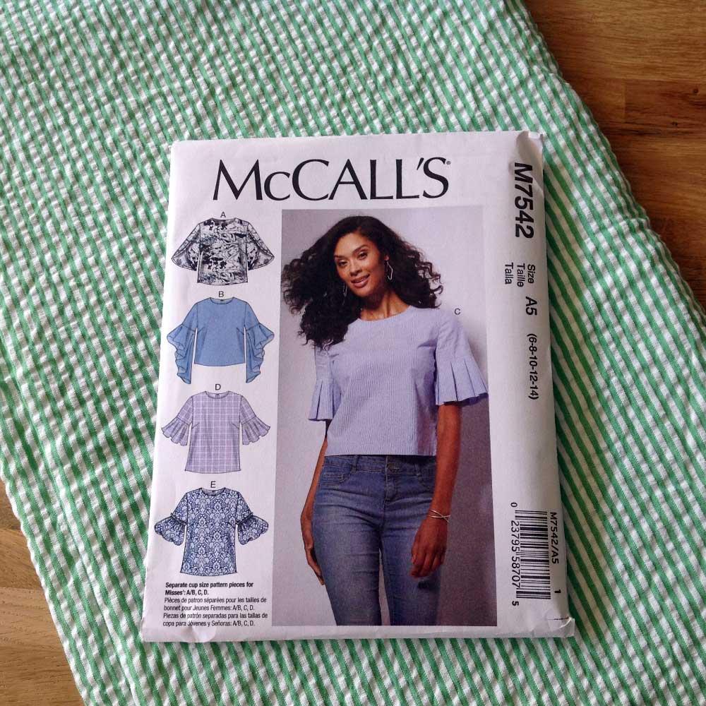 McCalls M7542 Green Stripe Cotton Seersucker   Spring Sewing Plans - Holm Sown