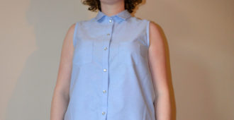 Holm Sown: Grainline Studio Alder Shirt - Chambray // front - buttoned up