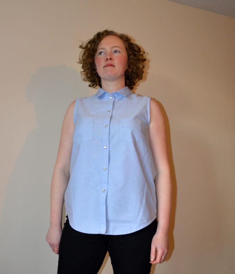 Holm Sown: Grainline Studio Alder Shirt - Chambray // front - buttoned up