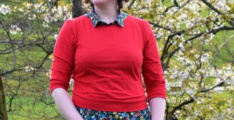 Holm Sown: Pattern Hack - Kitschy Koo Lady Skater Cropped Sweater in Lillestoff Red Cotton Jersey