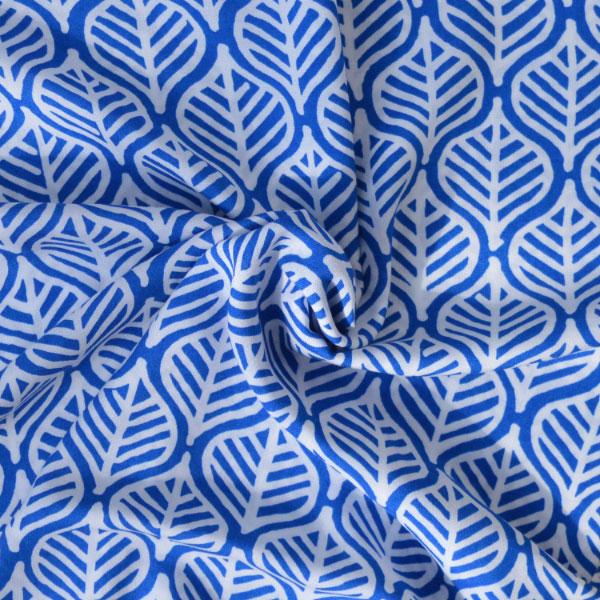Holm Sown: Blue Leaf Print Viscose dressmaking fabric