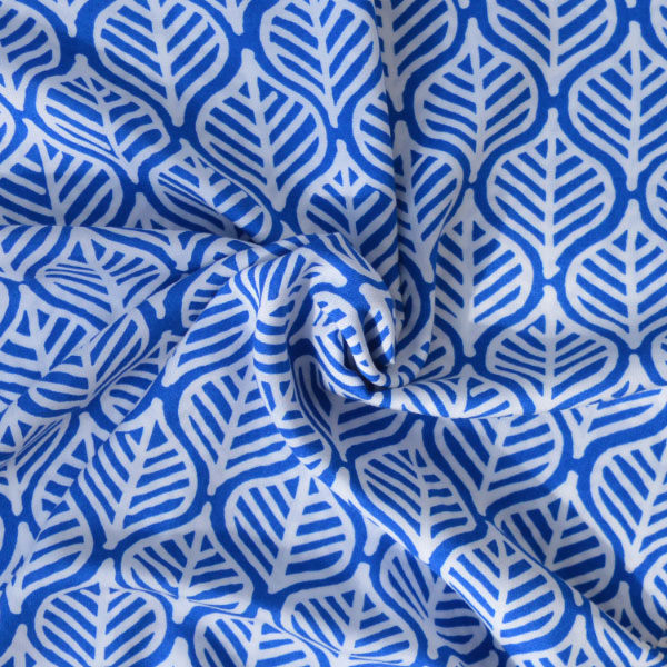 Holm Sown: Blue Leaf Print Viscose dressmaking fabric