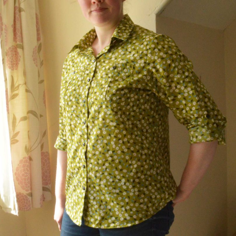 Holm Sown: Butterick B5526 Shirt // daisy pima cotton lawn - green // shirt front
