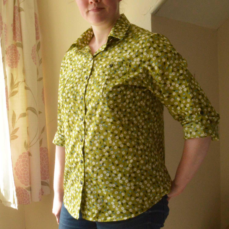 Holm Sown: Butterick B5526 Shirt // daisy pima cotton lawn - green // shirt front