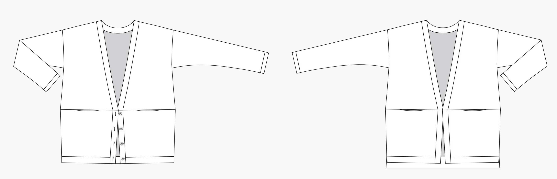 Holm Sown: Grainline Studio Driftless Cardigan - line drawing