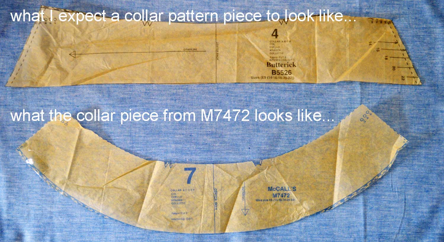 Holm Sown: McCalls M7472 raglan sleeve shirt - collar comparison