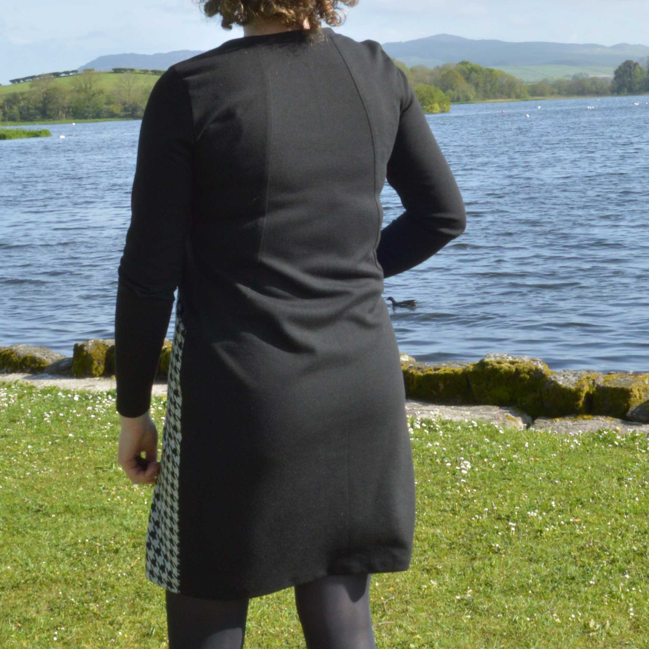 Holm Sown: Sew Over It Heather Dress - black and white houndstooth ponte roma // back view