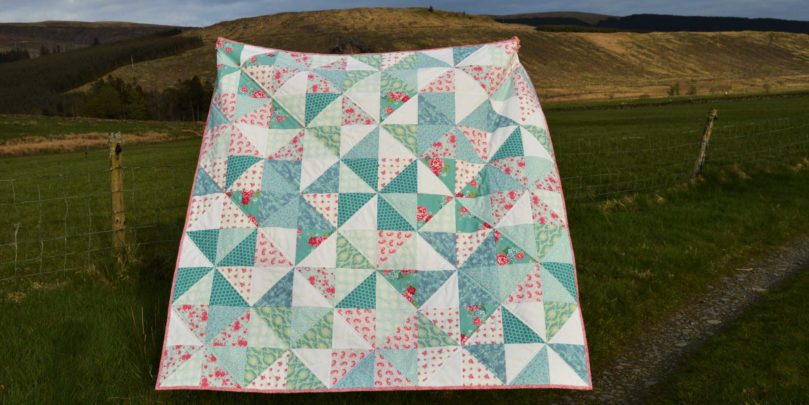 Holm Sown: Tilda Pinwheel Quilt // four at a time half square triangles // quilt top