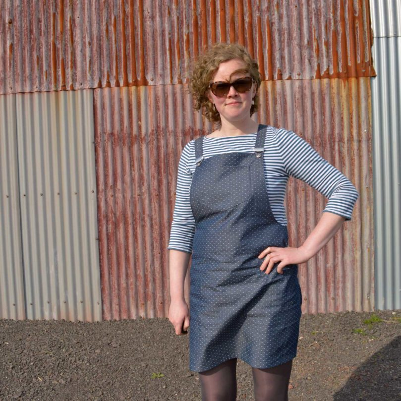 Holm Sown: Tilly and the Buttons Cleo Dungarees / Pinafore // fabric is Robert Kaufman Dot Cotton Chambray - Indigo