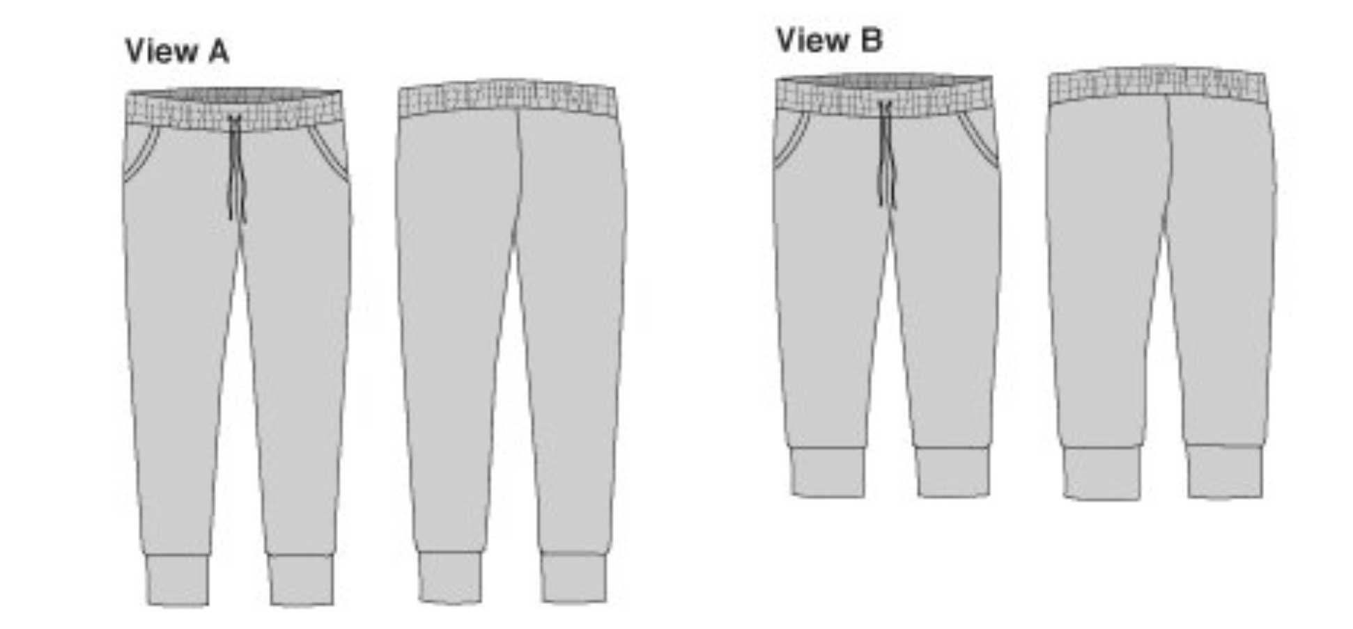 Holm Sown: True Bias Hudson Pant Sewing Pattern Line Drawing