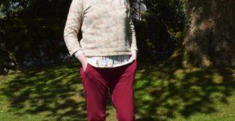 Holm Sown: True Bias Hudson Pant - Burgundy Cotton Jersey // front