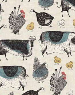 Makower Home Grown Animals Cream cotton fabric - Holm Sown