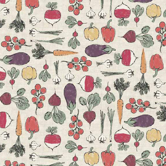 Makower Home Grown Vegetables Cream cotton fabric - Holm Sown