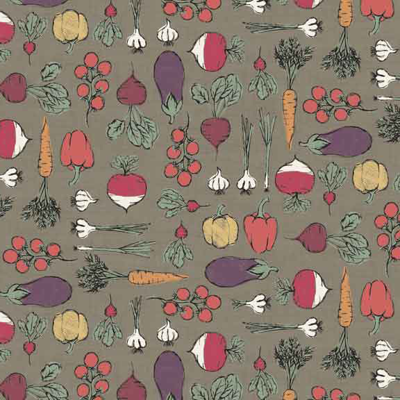 Makower Home Grown Vegetables Hessian cotton fabric - Holm Sown