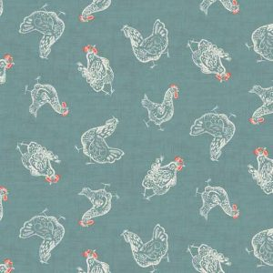 Makower Home Grown Chickens Blue cotton fabric - Holm Sown